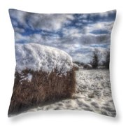 Hay Bale In The Snow Throw Pillow