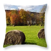 Hay Bales And Fall Colors Throw Pillow