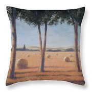 Hay Bales And Pines, Pienza, 2012 Acrylic On Canvas Throw Pillow