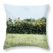 Hay Bales And Sunflowers Throw Pillow