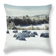 Hay Bales Covered With Snow And Ice In Maine Throw Pillow