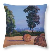 Hay-bales In Evening Light Throw Pillow