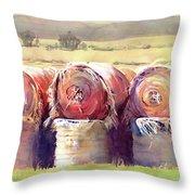 Hay Bales Throw Pillow by Kris Parins