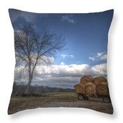 Hay Bales On A Wagon Throw Pillow