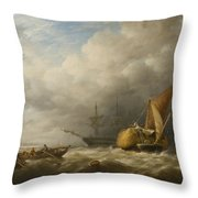 Hay Barges In The Thames Estuary Throw Pillow by Alfred Herbert