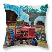 Hay Rides Trailer Throw Pillow