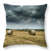 Hay Rolls Throw Pillow