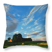 Hay Rolls On The Farm Series One In Westmoreland County Pennsylvania Throw Pillow