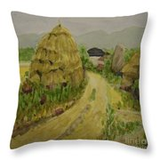 Hay Stack Throw Pillow by Lilibeth Andre