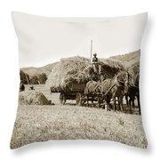 Horse-drawn Hay Wagon Carmel Valley California Circa 1905 Throw Pillow