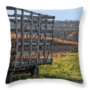 Hay Wagon In Field Throw Pillow