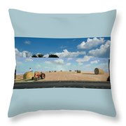 Haybales - The Other Side Of The Tunnel Throw Pillow by Blue Sky