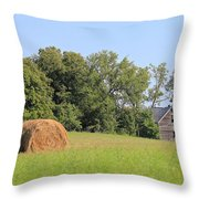Haying Season At Captain Ed's Homestead Throw Pillow