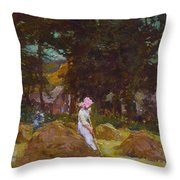 Haymaking  Throw Pillow by Elizabeth Adela Stanhope Forbes