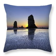 Haystack Needles Rocks At Cannon Beach Throw Pillow