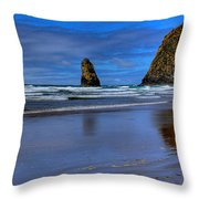 Haystack Rock And The Needles II Throw Pillow