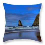 Haystack Rock And The Needles IIi Throw Pillow