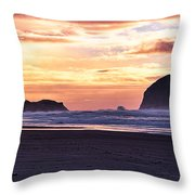 Haystack Rock Beach Walk Sunset Throw Pillow
