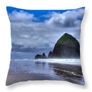 Haystack Rock Iva Throw Pillow by David Patterson
