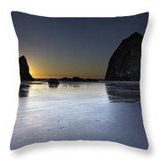 Haystack Rocks And The Needles At Cannon Beach Throw Pillow