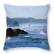 Haystack Rocks In Cannon Beach Throw Pillow