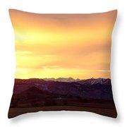 Haystack Rocky Mountain Front Range Sunset Panorama Throw Pillow