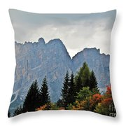 Haze And The Dolomites Throw Pillow