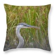 Hazy Day Heron Throw Pillow