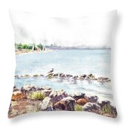 Hazy Morning At Crab Cove In Alameda California Throw Pillow