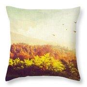 Hazy Morning In Trossachs National Park. Scotland Throw Pillow by Jenny Rainbow