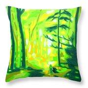 Hazy Sunny Forest Throw Pillow