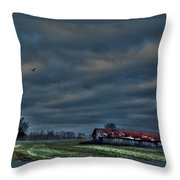 Hdr Print Red Tattered Barn Throw Pillow