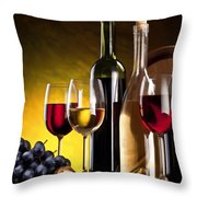 Hdr Style Wine Glasses Bottle Cask And Grapes Throw Pillow