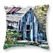 Hdr Tin Patch Roof Barn Throw Pillow