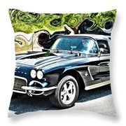 Chevrolet Corvette Vintage With Curly Background Throw Pillow