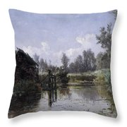 The Lake In Friesland Throw Pillow