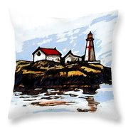 Head Harbour Lighthouse - Field Sketch Throw Pillow
