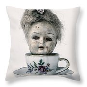 Head In Cup Throw Pillow