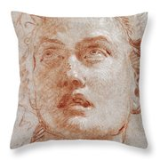 Head Of A Man Looking Up Throw Pillow