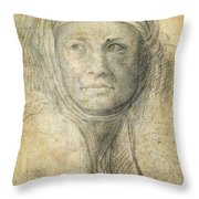 Head Of A Woman Throw Pillow by Michelangelo Buonarroti