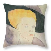 Head Of A Woman Wearing A Hat Throw Pillow