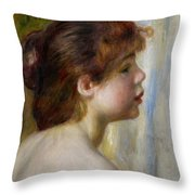 Head Of A Young Woman Throw Pillow by Pierre Auguste Renoir