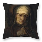 Head Of An Aged Woman Throw Pillow by Rembrandt
