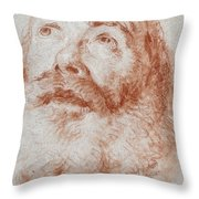 Head Of An Old Man Looking Up Throw Pillow