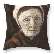 Head Of An Old Woman In A Scheveninger Throw Pillow