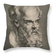 Head Of Socrates Throw Pillow by Anonymous