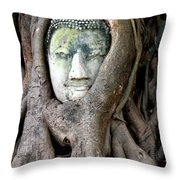 Head Of The Sandstone Buddha Throw Pillow