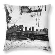 Head On Train Wreck Throw Pillow