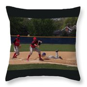 Head Slide In Baseball Throw Pillow