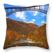 Heading Toward The New River Rapids Throw Pillow